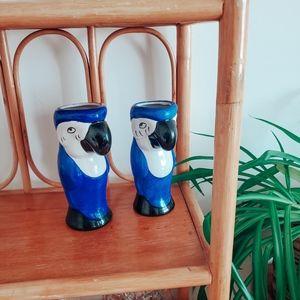 Vintage ceramic parrot tiki mugs / vases